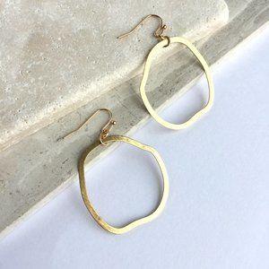 Organic Brushed gold hoop Earrings